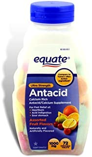 Equate - Antacid Tablets, Ultra Strength 1000 mg, 72 Chewable Tablets, Compare to Tums
