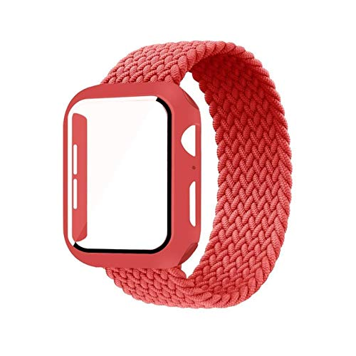 DXFFOK Caso + Correa para la Banda de Reloj de Apple 44 mm 40 mm 42mm 38mm Tela de Pulsera de 38 mm Nylon Braidy Stro Bucle Strap Serie 6 SE 5 4 3 (Band Color : Red, Size : 38mm)