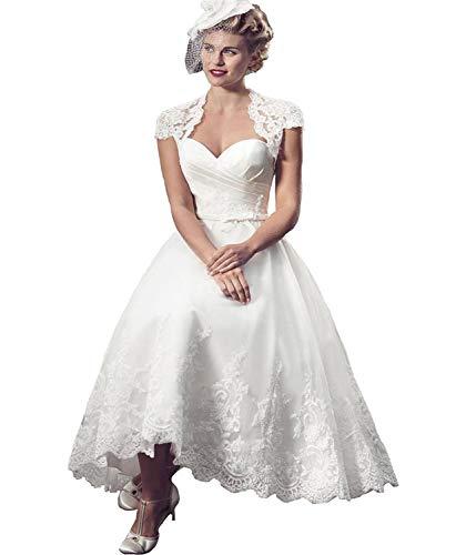 YASIOU Hochzeitskleid Standesamt Damen 3/4 länge Weiß Kurz Spitze Tüll Herzausschnitt Weiss mit Jacke Brautkleid