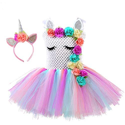 Mädchen Einhorn Prinzessin Regenbogenfarbene Tutu Kleid für Mädchen Geburtstagsfeier, Halloween Einhorn Kostüm oder jeden Tag Einhorn Motto Anlässe (6-7years/120-130cm)