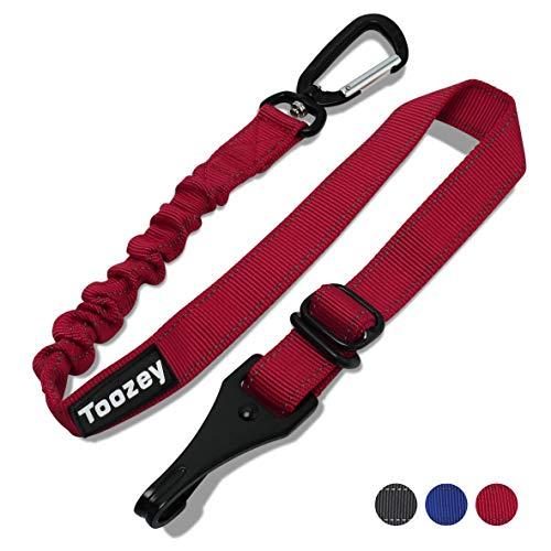 Toozey Hunde Sicherheitsgurt für Auto, Hundesicherheitsgurt mit Isofix, Profi Karabiner und Elastischer Ruckdämpfung, Einstellbar Hundegurt, Höchste Sicherheit für alle Hunderassen und Katzen, Rot