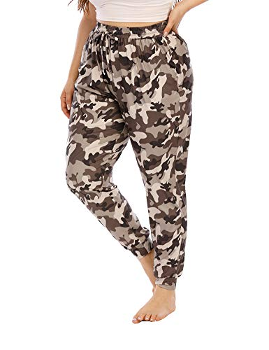 Gboomo Womens Plus Size Lounge Pants Casual Stretchy Drawstring Jogger Ankle Length Loose Pants with Pockets Brown Camo 4X