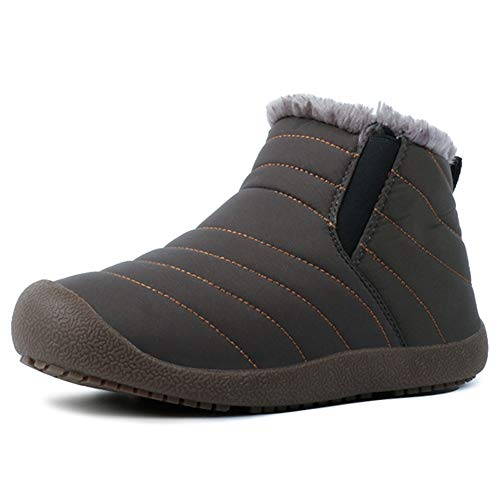 Huaheng Winter Warme Sneeuwlaarzen Niet-slip Pluche Gevoerde Sneaker Schoenen voor Vrouwen Mannen 48 EU Grijs
