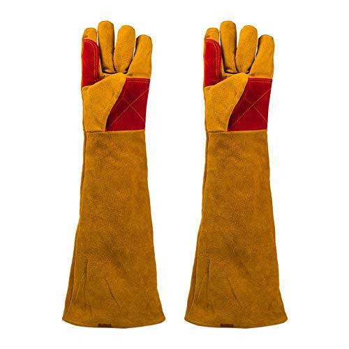 Guantes resistentes al calor y al fuego de manga larga para soldar, guantes de seguridad con forro de algodón, resistentes al calor, guantes de fuego y barbacoa, 60 cm