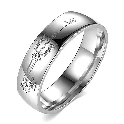 Anillo de pareja con corazón de rey retro anime anillo de moda para fiestas, joyería de anime, regalo para hombres y mujeres, 12 de plata