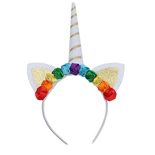 LUOEM Cuerda de cuerno de unicornio Diadema de unicornio brillante Diadema de flores de colores para niñas Niños Adultos Disfraz de cosplay, Decoración de fiesta