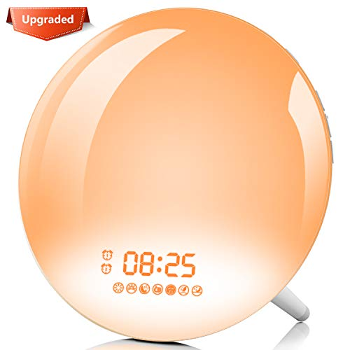 Sunrise Alarm Clock, Homagical Wake-Up Light Alarm Clock with Colored Sunrise Simulation & Sunset Fading Bedside Night Lamp, Dual Alarms, 7 Natural Sounds, Snooze, FM Radio for Adults Kids Bedrooms