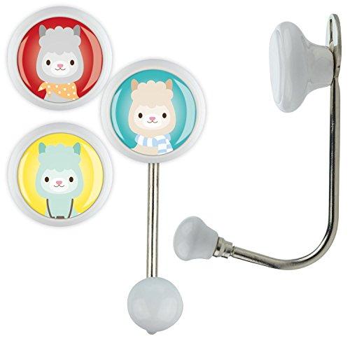 3x Gancho único kh026_ khe26W Blanco Diseños para niños habitación de los Niños presupuesto perchero Unicornio Animales Super Héroes Sport etc