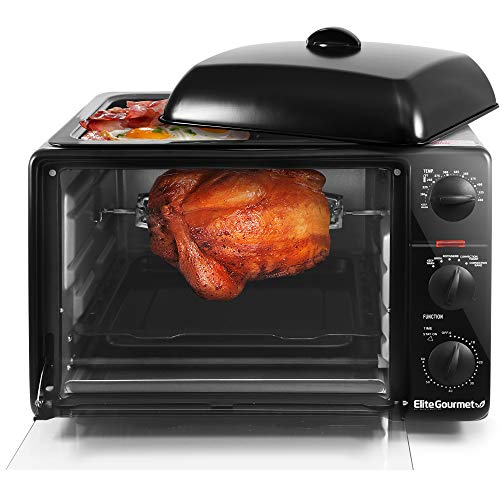 """Elite Gourmet ERO-2008SC Countertop XL Toaster Oven with Top Griddle Lid, Convection, Rotisserie, Bake, Grill, Broil, Roast, Toast, Keep Warm and Steam, 23L capacity fits a, 12"""" pizza, Black"""