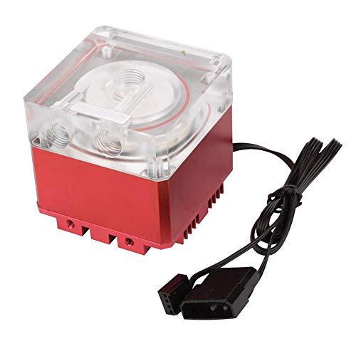 Richer-R Computer Wasserpumpe, Ultra Silent Wasserkühlung Pumpe 3000 RPM Schnelle Wärmeableitung,800L / H Durchfluss 3,5 Meter Pumpenkopf Water Cooling Pump Tank für PC Wasserkühlung(Rot)