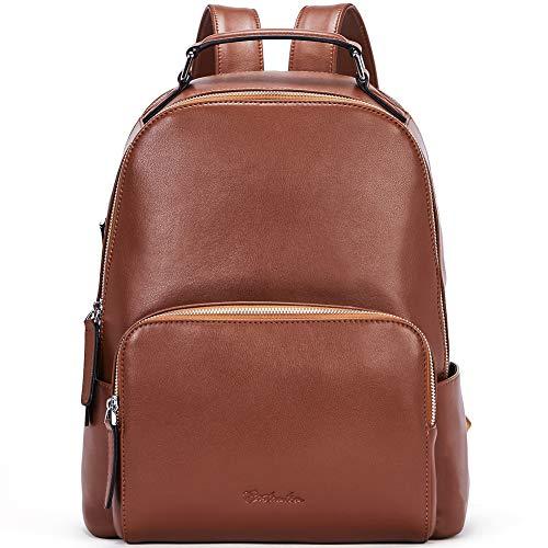 BOSTANTEN Ladies Genuine Leather Backpack Women Leather Rucksack Fashion Laptop Daypacks Multifunction School Backpack Brown