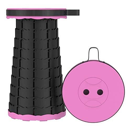 Taburete retráctil Plegable Chiar Taburete portátil para Exteriores Silla Plegable Taburete para Acampar PrácticoTaburete de plástico Plegable paraPesca- Rosa-Negro