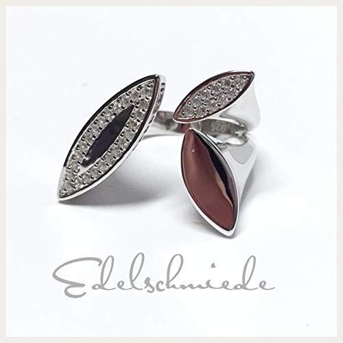 moderner Ring 925 Silber rhod mit Zirkonia #52
