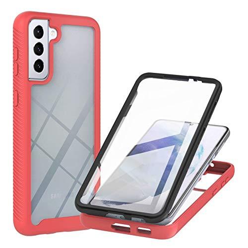 TTNAO Compatible con Samsung Galaxy S21 5G, 360 Full Body Protection Hard Shell Protector de pantalla incorporado PET Clear Cover a prueba de golpes y arañazos (rojo)