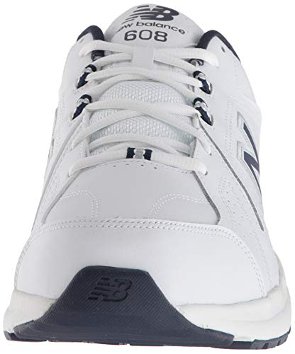 New Balance mens 608 V5 Casual Comfort Cross Trainer, White/Navy, 10.5 Wide US
