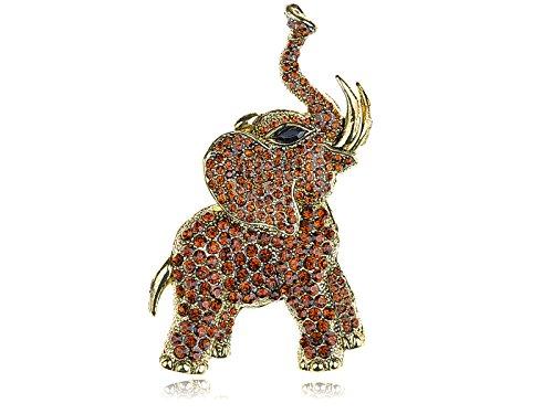 Alilang Golden Tone Brown Rhinestones Animal Elephant Trunk Brooch Pin