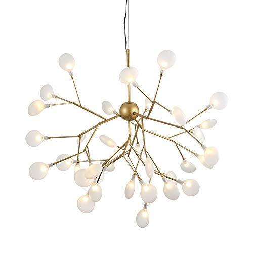 HXCD Lámpara de araña nórdica, luz Colgante de Rama led contemporánea Luz de Techo Colgante Interior Ajustable con Pantalla de Vidrio G4 (Incluye) -36 Luces Luz cálida