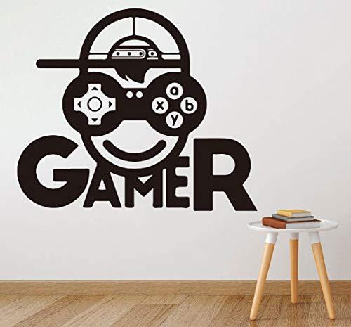Geiqianjiumai cartoon jongen gezicht gamer muursticker kinderkamer slaapkamer spel ruimte invaders vinyl spel slaapkamer muursticker