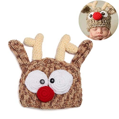 Kylewo fotografie baby hoed, baby muts baby handgemaakte gebreide muts haken breien rendier gewei hoed Halloween Kerstmis hoed fotografie prop hoed