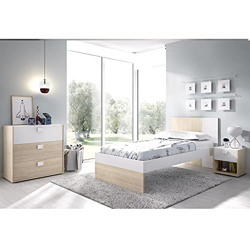 HABITMOBEL Dormitorio Juvenil Cama, mesita y cómoda somier Incluido