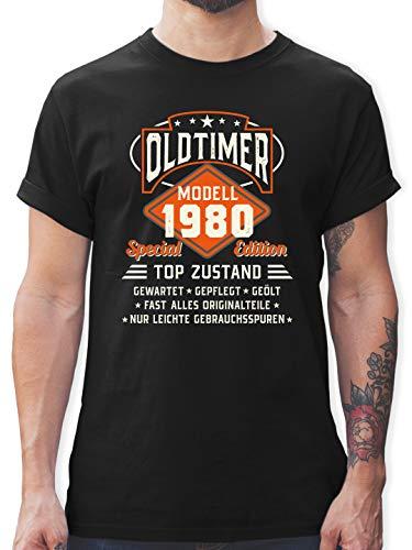 Geburtstag - Oldtimer Modell 1980 - L - Schwarz - Geburtstagszahl - L190 - Tshirt Herren und Männer T-Shirts