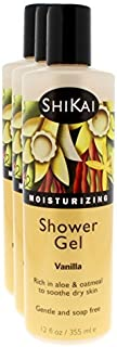 Shikai - Daily Moisturizing Shower Gel, Rich in Aloe Vera & Oatmeal That Leaves Skin Noticeably Softer & Healthier, Relief For Dry Skin, Gentle Soap-Free Formula (Vanilla,12 Ounces, Pack of 3)