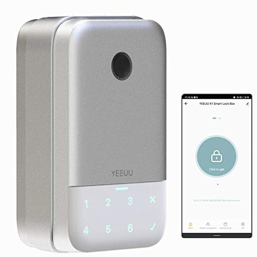 YEEUU Smart Keybox Lock with Fingerprint Passcode and Management APP, Perfect for Smart Home, Airbnb and Rental Business, Newest 2021 Version (K140)