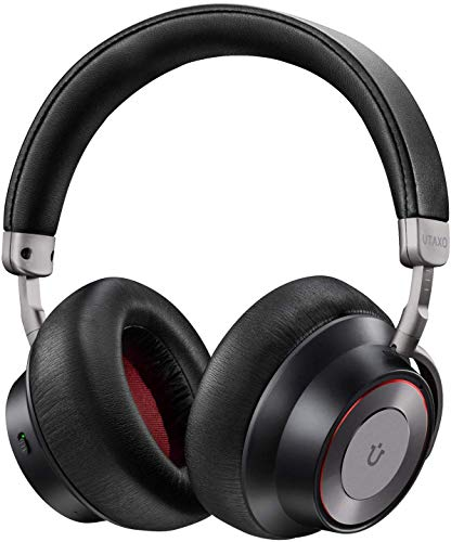 Utaxo Noise Cancelling Headphones, [Upgraded] Bluetooth Headphones with Mic Wireless Headphones Over Ear Hi-Fi Sound/Deep Bass, Quick Charge 30H Playtime for Travel Work TV PC Cellphone