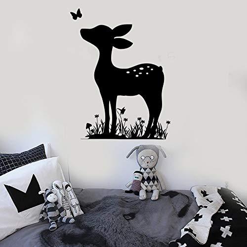 Calcomanías de pared de ciervo leonado calcomanías de pared de vinilo de dormitorio infantil para calcomanías de animales para habitación de bebé papel tapiz de decoración del hogar extraíble 57x76 cm