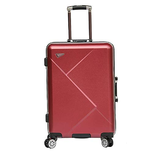 HANQING Trolley case aluminum frame universal wheel suitcase retro cabin case,Red-50 cm x 35 cm x 26 cm