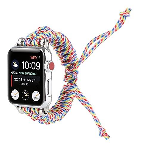 Correa de Paracord Compatible con Apple Watch 42 mm 44 mm para iWatch Series 6 5 4 3 2 1 SE, Correa de Repuesto Deportiva de Paracord Trenzada Hecha a Mano para Hombre,42MM/44MM
