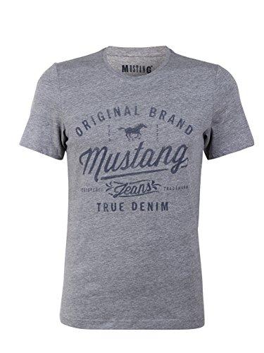 MUSTANG Herren T-Shirt Rundhals Kurzarm Logo Print Baumwolle Schwarz Weiß Blau Grau S M L XL 2XL 3XL, Größe: L, Ausführung: Original Brand (Mid Grey Melange)