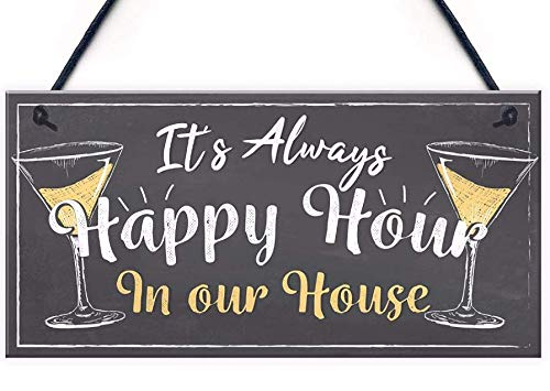LWF Home Bar Sign Always Happy Hour Funny Gin Prosecco Friendship Friend Sign Kitchen Wall Plaque 10' x 5'