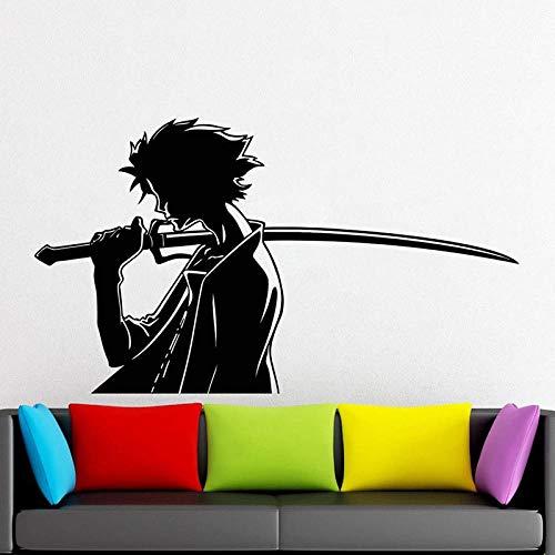 Samurai Wandtattoo Ninja Kampfschwert Kampfkunst Tür Fenster Vinyl Aufkleber Teenager Jungen Schlafzimmer Mann Höhle Home Decor Wandbild-57x32cm