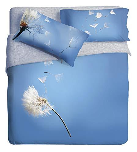 Ipersan - Juego de Funda nórdica con Estampado fotográfico, Plano, de algodón orgánico, Color Azul, para Cama de Matrimonio