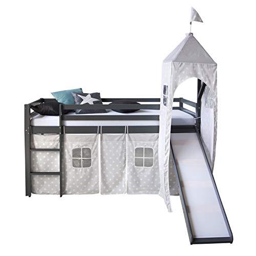 Homestyle4u 1873, Kinderbett 90x200 Grau, Hochbett mit Rutsche Turm, Sternen Vorhang