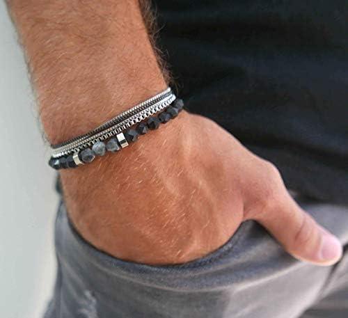 Bracelets For Men Set of 2 Bracelets For Men Men s Bracelets Men s Beaded Bracelet Set Of Stainless product image