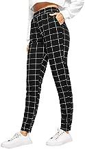 SweatyRocks Women's Casual High Waist Skinny Leggings Stretchy Work Pants Plaid Black Large