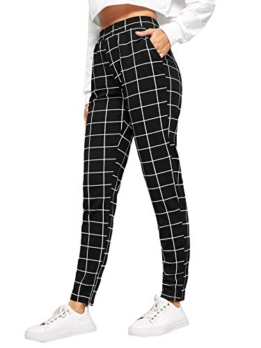 SweatyRocks Women's Casual High Waist Skinny Leggings Stretchy Work Pants Plaid Black Medium