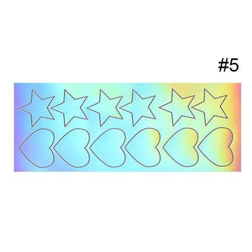 MEIYY Autocollant D'ongle 1 Feuille Holographique Rainbow Ab Couleur Test Autocollant Coloré 3D Rouge À Lèvres Creux Fard À Paupières Maquillage Test De Couleur Adhésif Autocollant Outil
