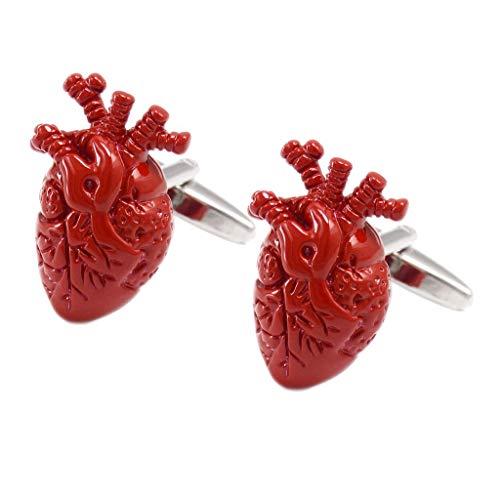 2 piezas 3D corazón anatómico gemelos camisa boda negocios gemelos para hombres