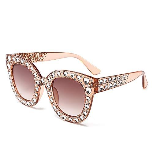 YANPAN Personalidad De La Moda Cuadrado Cristal Amor Diamante Gafas De Sol...
