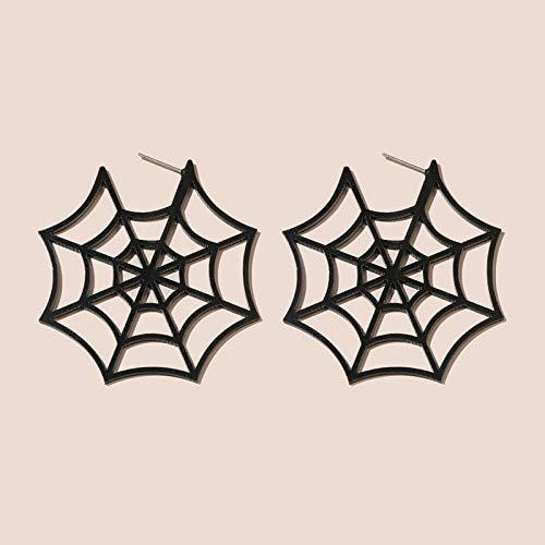 xmwm Halloween-Dekorationen Halloween Spinnennetz Acryl Hohlen Kreis Ohrringe Charme Ohrringe Geschenk Teenager-MäDchen