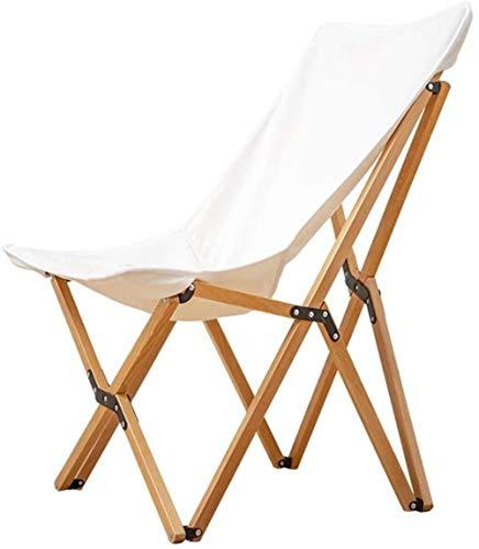 Silla de Madera sólida Plegable portátil de Auto-conducción de Picnic Tumbona, for al Aire Libre del Campo, Pesca, Senderismo (Color: Negro), Color: Blanco (Color : White)