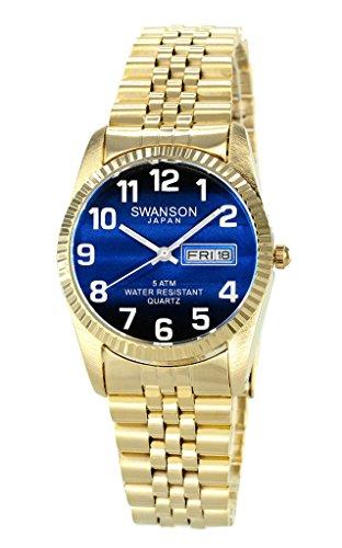 Swanson Herren-Armbanduhr, goldfarbenes Zifferblatt mit großen weißen Zahlen