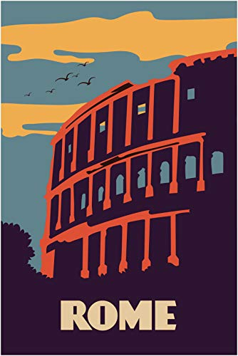 EzPosterPrints - Retro World Famous City Posters - Decorative, Vintage, Retro, Grunge Travel Poster Printing - Wall Art Print for Home Office - Rome, Italy - 12X18 inches