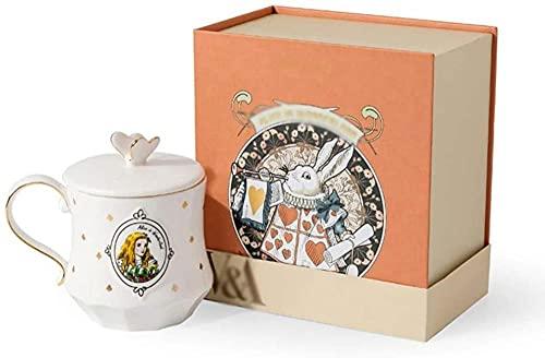 HUANYARI Caneca de cerâmica Alice canecas de café da manhã linda caneca de café com tampa colher Dia dos Namorados 11 canecas de café de 236 ml - evolução da borboleta