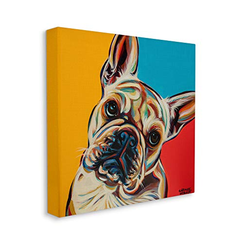 Stupell Industries French Bulldog Portrait Chroma Pop Red Yellow Blue, Design by Carolee Vitaletti Canvas Wall Art, 17 x 17, Multi-Color