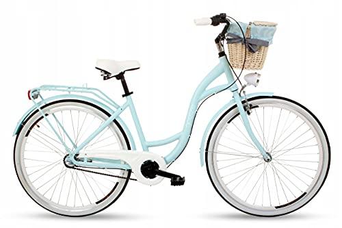 Goetze Style Alu Rahmen Damenfahrrad Retro Vintage Citybike, 28 Zoll Räder, 3 Gang, Shimano Nexus, Rücktrittbremse, Tiefeinstieger, Korb mit Polsterung Gratis!