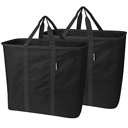 CleverMade SnapBasket LaundryCaddy/CarryAll XL Pop-Up Hamper, Collapsible Laundry Basket, and Extra-Large Tote Bag, Pack of 2, Black